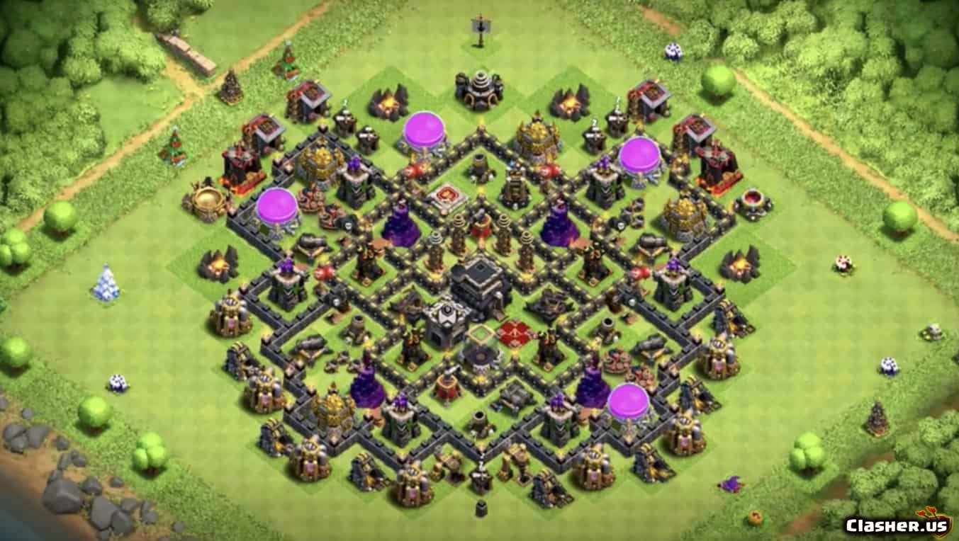 Town Hall 9] Best TH9 Trophy & Loot Base Design [With Link] [7-2019] -  Farming Base - Clash of Clans | Clasher.us
