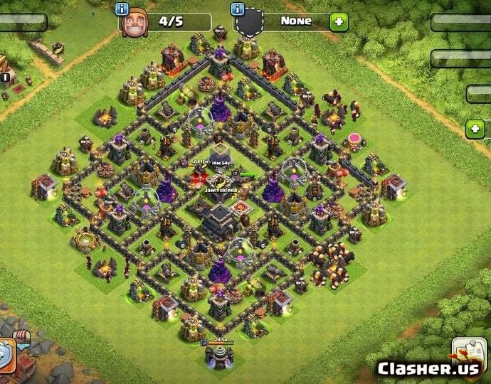 Town Hall 9] best TH9 Hybrid base [With Link] [7-2019] - Trophy Base - Clash  of Clans   Clasher.us