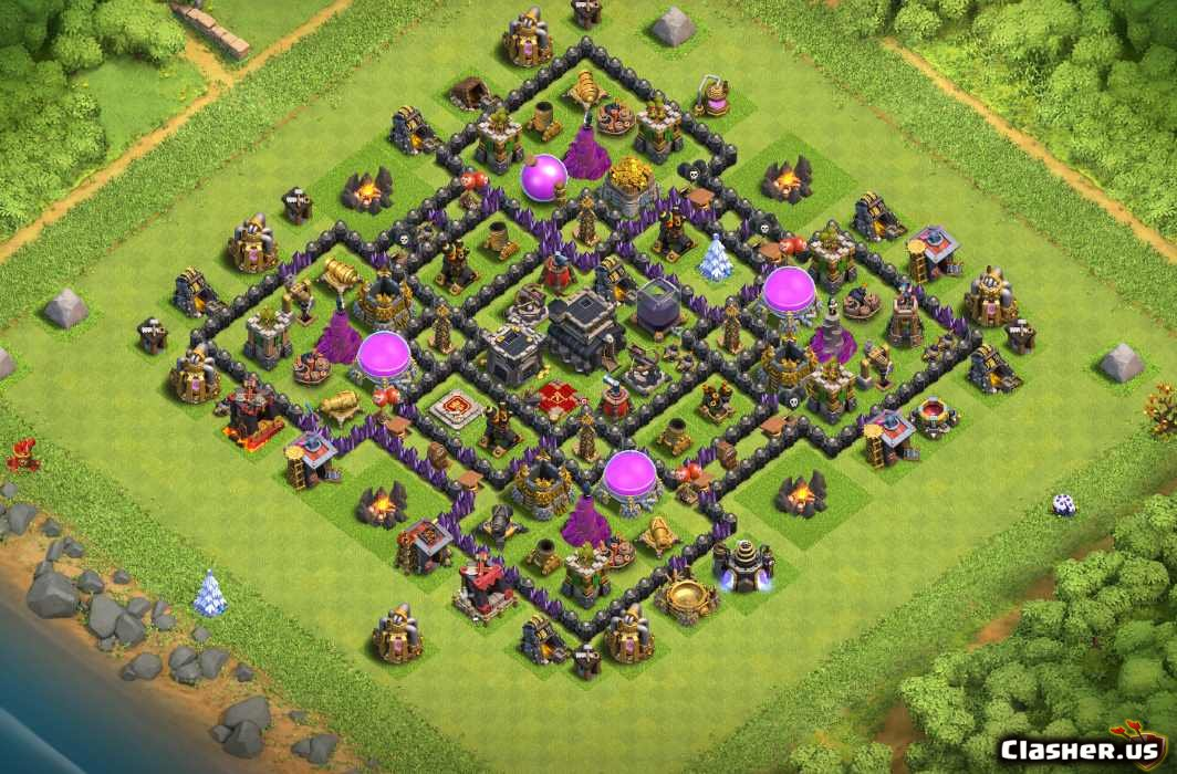 Town Hall 9 Th9 Square Farming Base With Link 7 2019 Farming Base Clash Of Clans Clasher Us