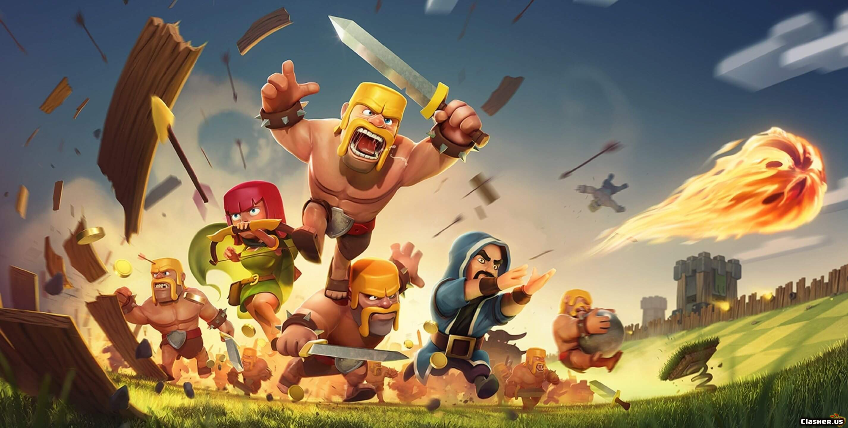 Coc Splash Barbarian Archer Wizard Clash Of Clans Wallpapers